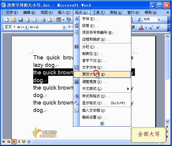 在Word2003文档中怎么切换英文字母的大小写呢?截图